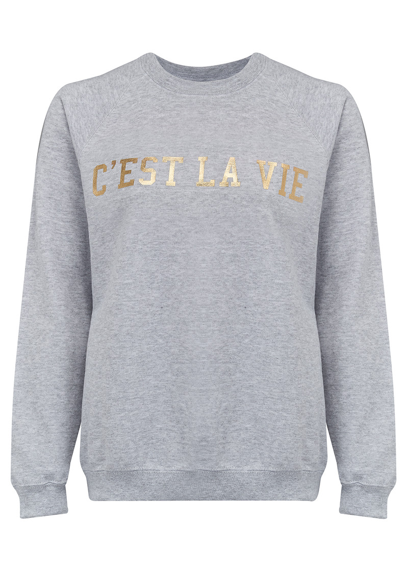 C'est La Vie Jumper - Grey & Gold main image