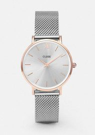 CLUSE Minuit Mesh Watch - Silver & Rose Gold