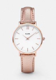 CLUSE Minuit Rose Gold Watch - White & Rose Gold Metallic