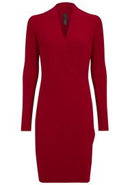 KAMALI KULTURE Long Sleeve Drape Dress - Red