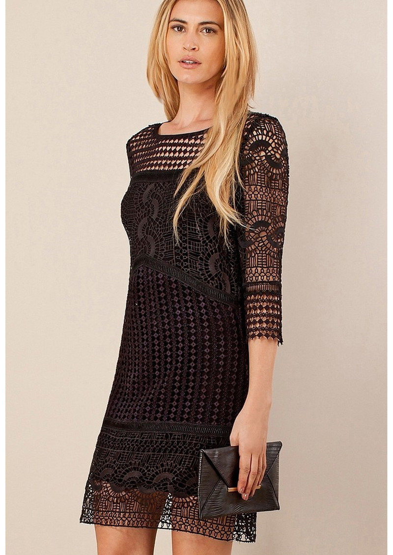 Hale Bob Yavette Diamond Lace Dress - Black main image