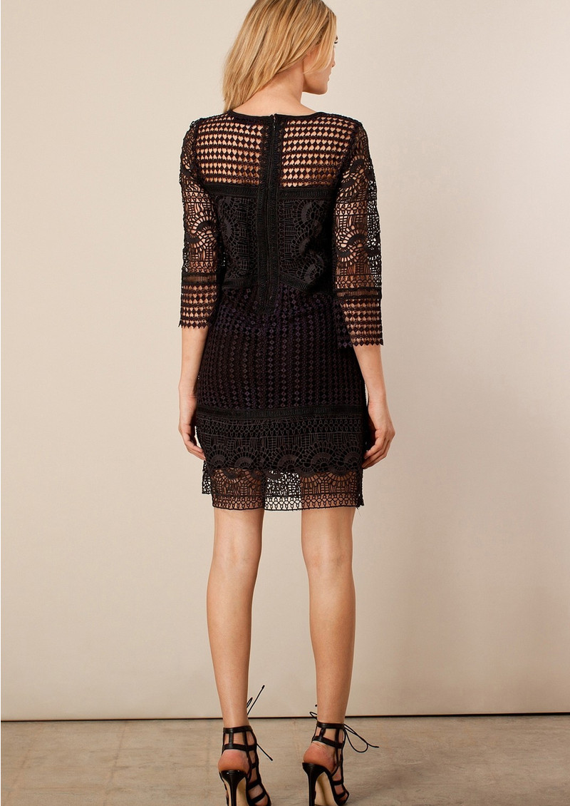 Yavette Diamond Lace Dress - Black main image