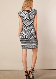 Hale Bob Xantha Fitted Jacquard Dress - Black & White