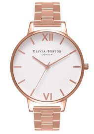 Olivia Burton Big Dial White Dial Bracelet Watch - Rose Gold