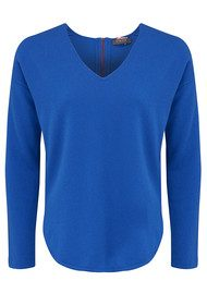 COCOA CASHMERE Curved Hem V Neck Cashmere Sweater - Electric Blue
