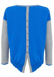 COCOA CASHMERE Button Back Cashmere Sweater - Grey & Electric Blue