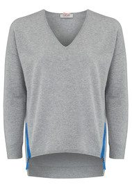 COCOA CASHMERE Boxy Contrast Cashmere Sweater - Grey