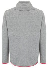 COCOA CASHMERE Lounge Cowl Neck Cashmere Sweater - Grey & Fluro Pink