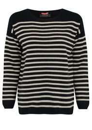 COCOA CASHMERE Striped Boat Neck Cashmere Sweater - Black, Oatmeal & Fluro Pink