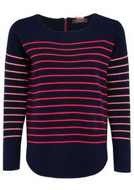 COCOA CASHMERE Striped Curved Hem Cashmere Sweater - Navy, Fluro Pink & Mango