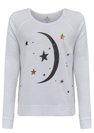 SUNDRY Moon Crop Sweater - White