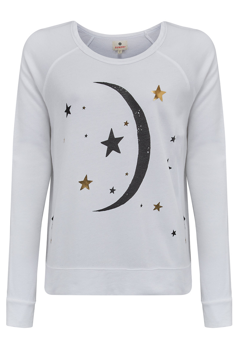 SUNDRY Moon Crop Sweater - White main image