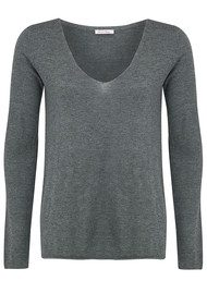 American Vintage Blossom V Neck Sweater - Grey Chine