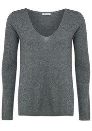 American Vintage Blossom V Neck Sweater - Grey Chine