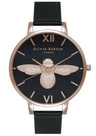 Olivia Burton Moulded Bee Black Dial Watch - Black & Rose Gold