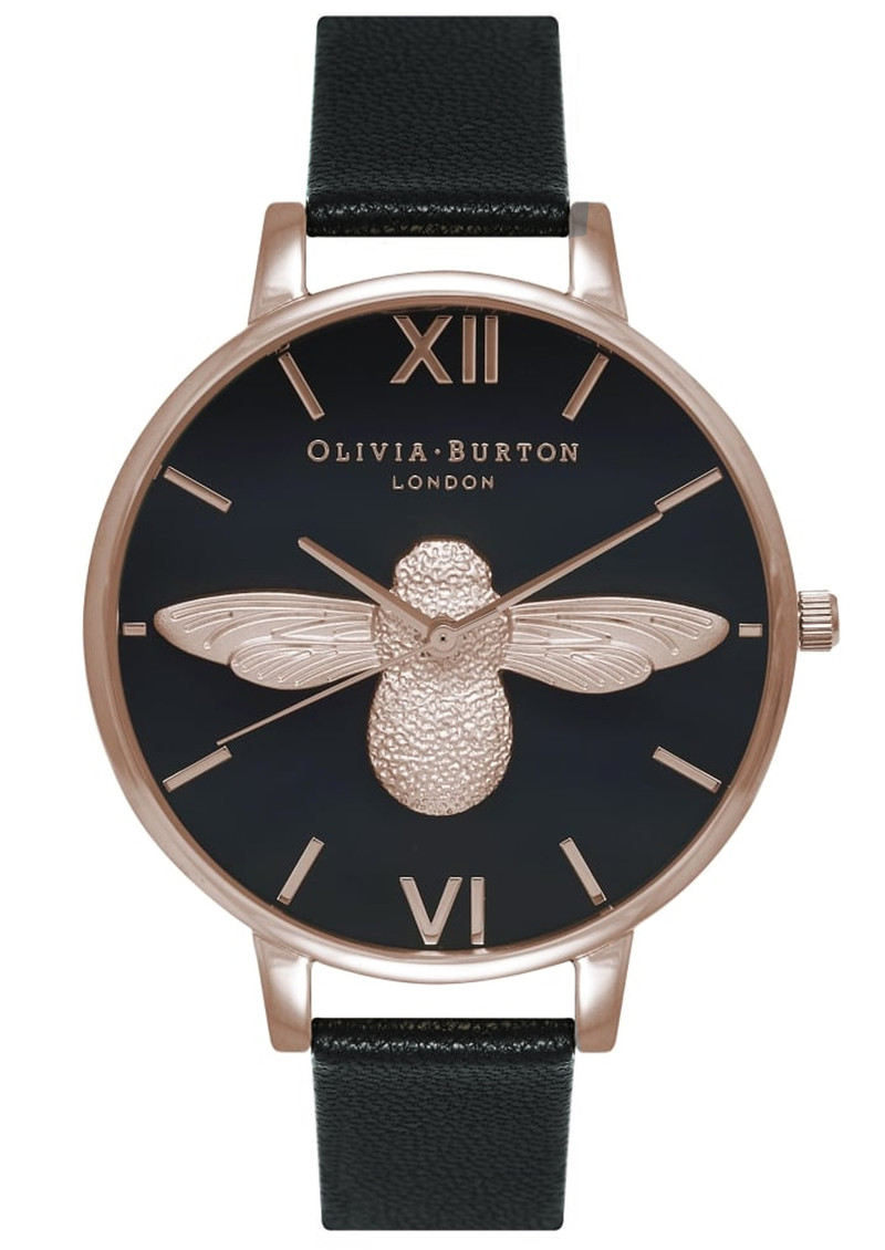 Olivia Burton Moulded Bee Black Dial Watch - Black & Rose Gold main image
