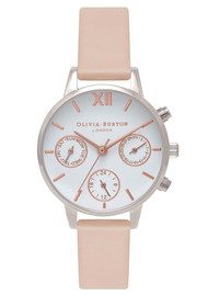 Olivia Burton Midi Dial Chrono Detail Watch - Nude Peach, Silver & Rose Gold