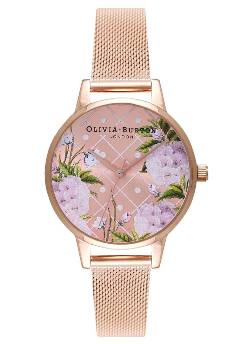 Olivia Burton Dot Design Floral Mesh Watch - Rose Gold  main image