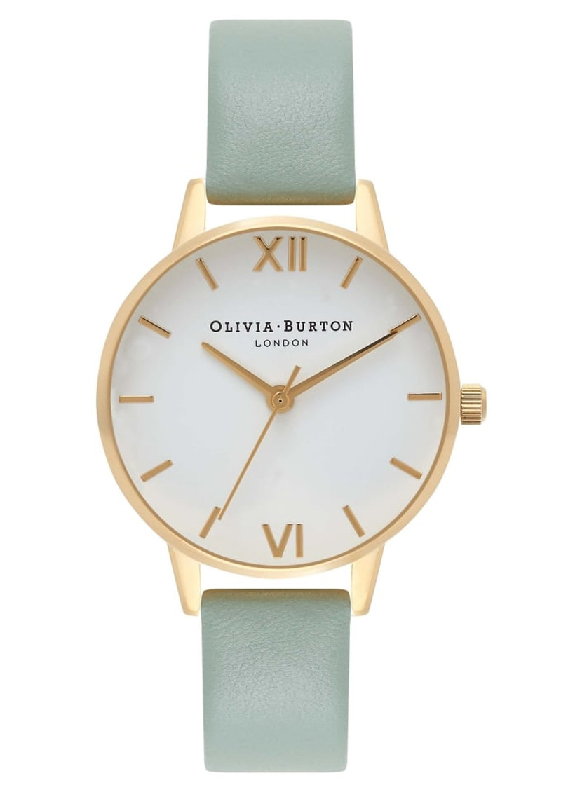 Olivia Burton Midi Dial White Dial Watch - Mint & Gold main image