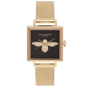 Square Dial 3D Bee Mesh Watch - Gold