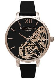 Olivia Burton Applied Wing Watch - Black & Rose Gold