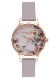 Olivia Burton Embroidery Pansy Watch - Grey Lilac & Rose Gold