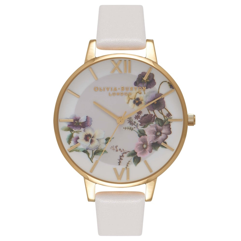Embroidery Pansy Watch - Blush & Gold