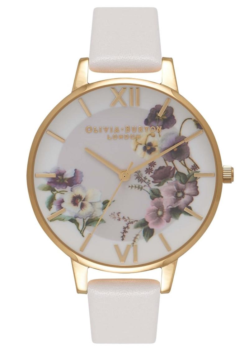 Olivia Burton Embroidery Pansy Watch - Blush   Gold 048520011b