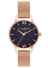 Olivia Burton Midi Midnight Dial Mesh Watch - Rose Gold