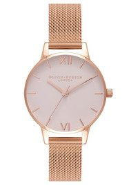 Olivia Burton Midi Blush Dial Mesh Watch - Rose Gold