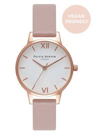 Olivia Burton Vegan Friendly Midi White Dial Watch - Rose Sand & Rose Gold