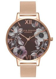 Olivia Burton Poppy Brown Dial Mesh Watch - Rose Gold