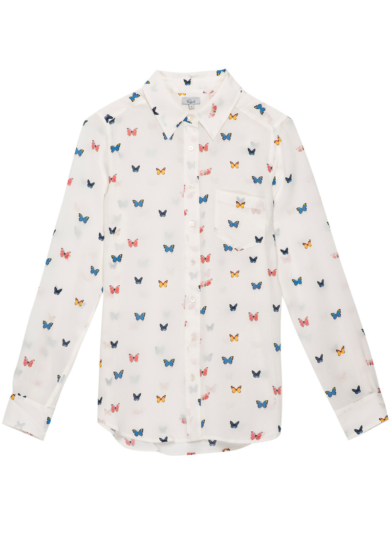 Rails Kate Silk Shirt - White Butterfly main image