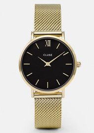 CLUSE Minuit Mesh Watch - Gold & Black