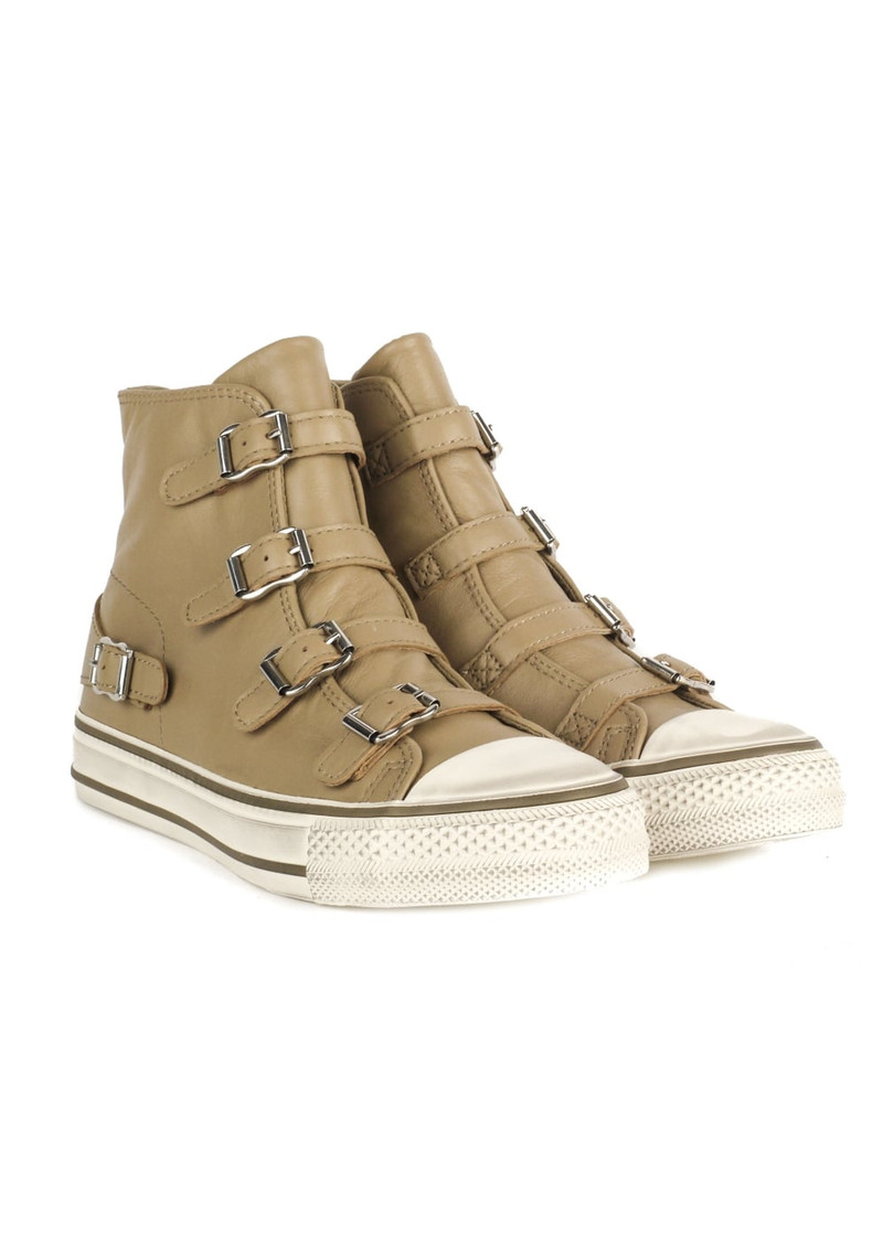 Ash Virgin Leather Buckle Trainers - Taupe main image