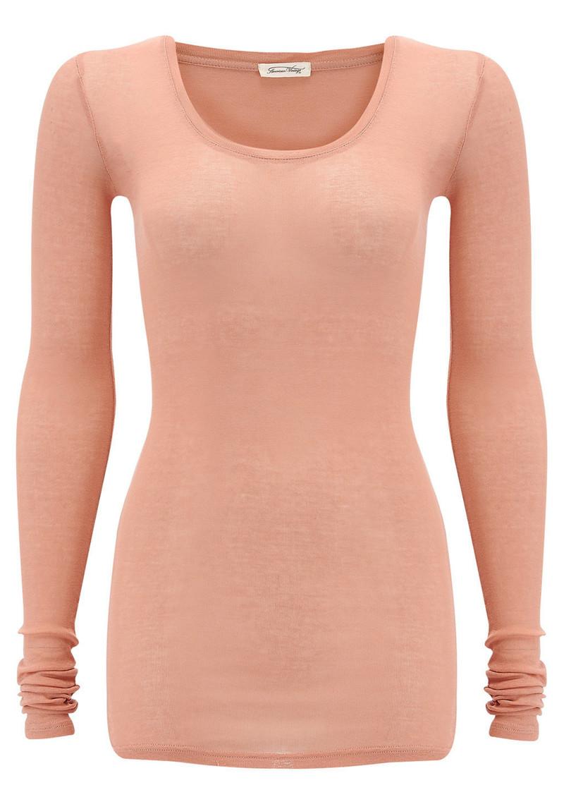 American Vintage Massachusetts Long Sleeve T-Shirt - Rose main image