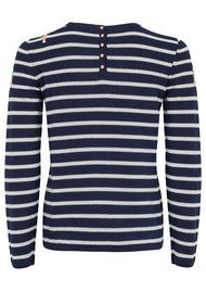 Des Petits Hauts  Blondie Striped Sweater - Ecru & Marine