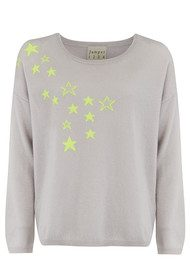 JUMPER 1234 Spatter Stars Jumper - Snow & Neon Yellow