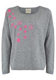 JUMPER 1234 Spatter Stars Jumper - Mid Grey & Neon Pink
