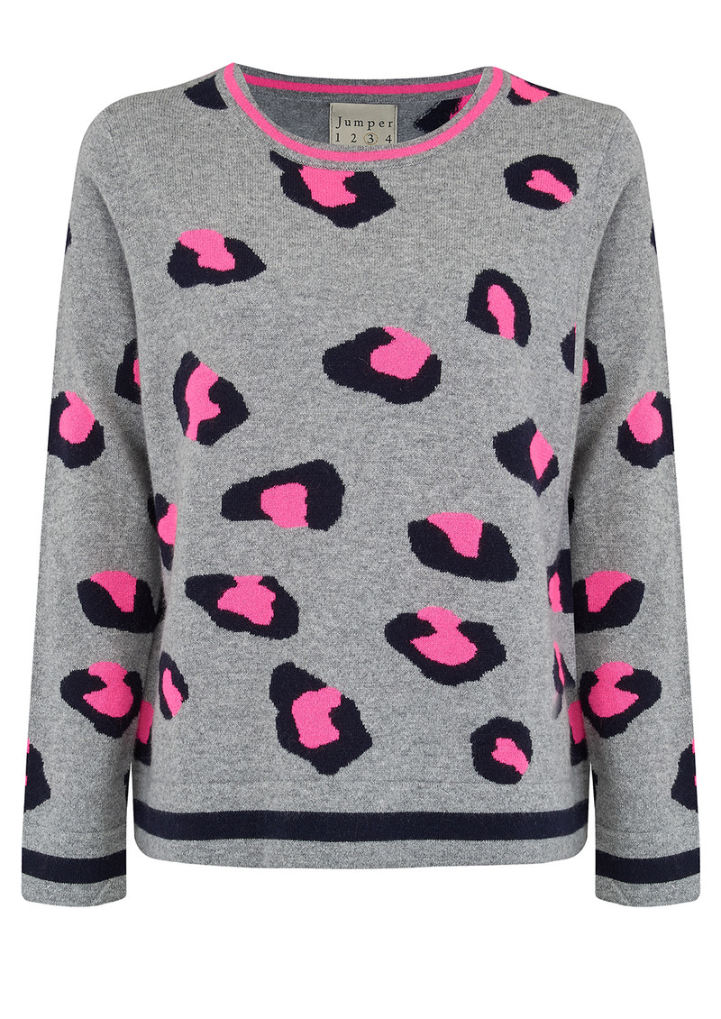 JUMPER 1234 Leopard Jumper with Contrast Rib - Mid Grey, Navy & Neon Pink main image