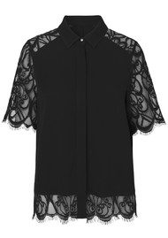 NOTES DU NORD Adelina Short Sleeve Lace Blouse - Noir