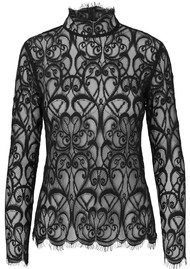 NOTES DU NORD Adelina Long Sleeve Lace Blouse - Noir