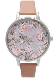 Olivia Burton Enchanted Garden Watch - Dusty Pink & Silver
