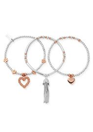 ChloBo Love You More Stack of 3 - Silver & Rose Gold