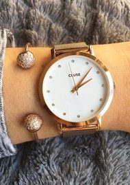 CLUSE Pavane Rose Gold Stones Mesh Watch - Rose Gold