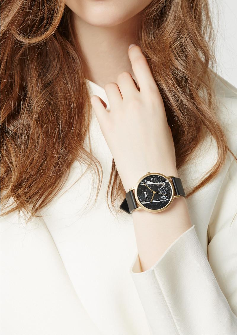 CLUSE La Roche Marble Watch - Black & Gold main image