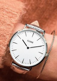 CLUSE La Boheme Metallic Watch - Silver & White