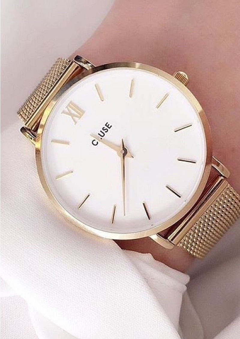 Cluse Minuit Mesh Watch Rose Gold Amp White