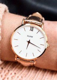 CLUSE Minuit Rose Gold Watch - White & Rose Gold Metallic