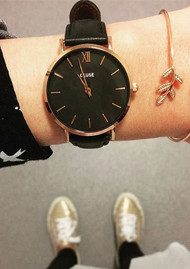 CLUSE Minuit Rose Gold Watch - Black & Black
